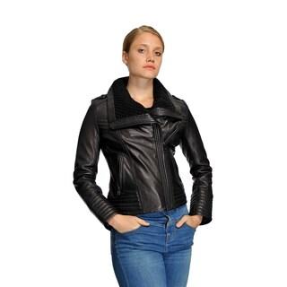 Michael Kors Women's Leather Knit-Collar Moto Jacket
