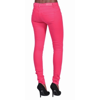 C'est Toi Women's Fuchsia Denim 4-pocket Solid-colored Skinny Jeans