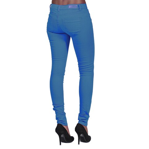 C'est Toi Women's Marine Blue Denim 4-pocket Skinny Jeans