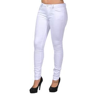 C'est Toi White Denim 4-pocket Skinny Jeans|https://ak1.ostkcdn.com/images/products/12425371/P19242553.jpg?impolicy=medium