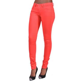 C'est Toi Ginger Denim 4-pocket Solid-colored Skinny Jeans|https://ak1.ostkcdn.com/images/products/12425372/P19242554.jpg?impolicy=medium