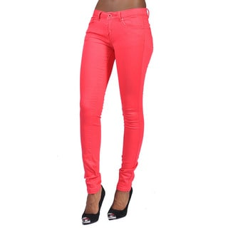 C'est Toi Women's Red Denim 4-pocket Skinny Jeans