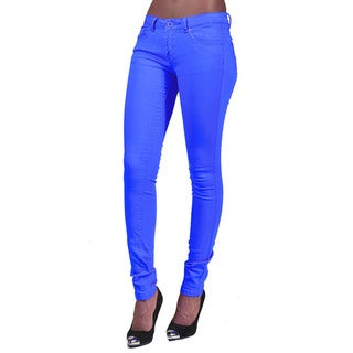 C'est Toi Turquoise 4-pocket Button-fly Skinny Jeans