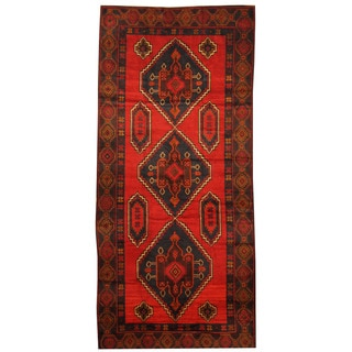 Herat Oriental Afghan Hand-knotted 1960s Semi-antique Tribal Balouchi Wool Rug (4'8 x 10'5)