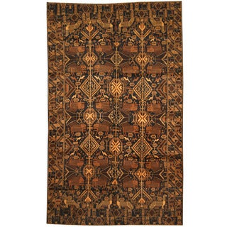 Herat Oriental Afghan Hand-knotted 1960s Semi-antique Tribal Balouchi Wool Rug (6'2 x 10'1)