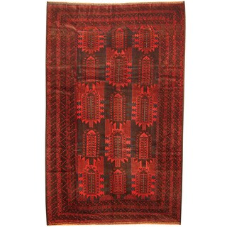 Herat Oriental Afghan Hand-knotted 1960s Semi-antique Tribal Balouchi Wool Rug (6'9 x 10'8)