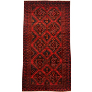 Herat Oriental Afghan Hand-knotted 1960s Semi-antique Tribal Balouchi Wool Rug (5'9 x 11'1)