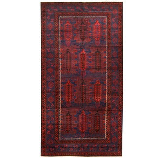 Herat Oriental Afghan Hand-knotted 1950s Semi-antique Tribal Balouchi Wool Rug (6' x 11'4)
