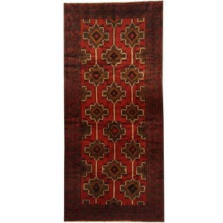 Herat Oriental Afghan Hand-knotted 1950s Semi-antique Tribal Balouchi Wool Rug (5'10 x 12'9)