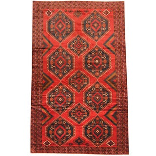 Herat Oriental Afghan Hand-knotted 1950s Semi-antique Tribal Balouchi Wool Rug (7'6 x 12')