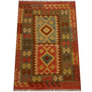 Herat Oriental Afghan Hand-woven Vegetable Dye Wool Kilim (3'4 x 4'9)