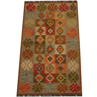 Herat Oriental Afghan Hand-woven Vegetable Dye Wool Kilim (3'1 x 5'1)