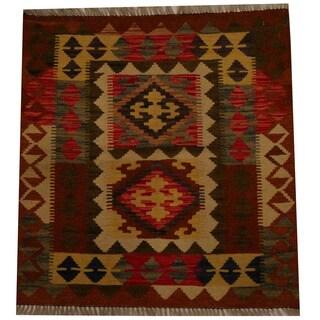 Herat Oriental Afghan Hand-woven Vegetable Dye Wool Kilim (2'9 x 2'11)