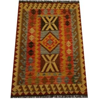 Herat Oriental Afghan Hand-woven Vegetable Dye Wool Kilim (3'4 x 4'10)
