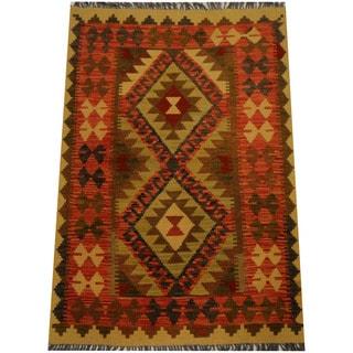 Herat Oriental Afghan Hand-woven Vegetable Dye Wool Kilim (3'2 x 4'1)
