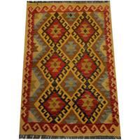 Herat Oriental Afghan Hand-woven Vegetable Dye Wool Kilim - 3'3 x 5'1