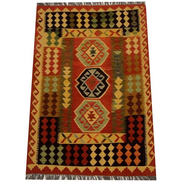 Handmade Herat Oriental Afghan Vegetable Dye Wool Kilim (Afghanistan) - 3'3 x 4'10
