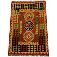 Herat Oriental Afghan Hand-woven Vegetable Dye Wool Kilim (3'3 x 4'10) - 3'3 x 4'10