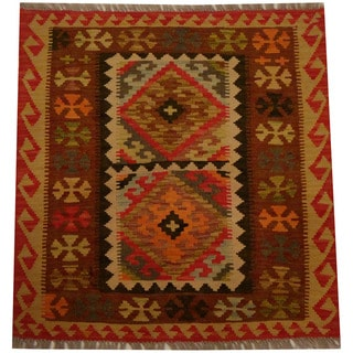 Herat Oriental Afghan Hand-woven Vegetable Dye Wool Kilim (2'9 x 2'10)