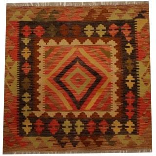 Herat Oriental Afghan Hand-woven Vegetable Dye Wool Kilim (2'11 x 3')