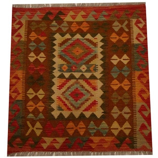 Herat Oriental Afghan Hand-woven Vegetable Dye Wool Kilim (2'10 x 2'10)