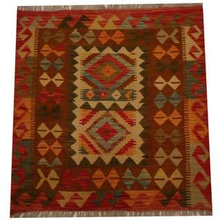 Handmade Herat Oriental Afghan Vegetable Dye Wool Kilim (Afghanistan) - 2'10 x 2'10
