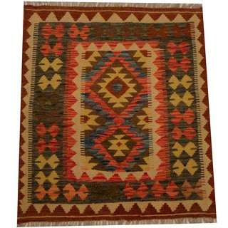Herat Oriental Afghan Hand-woven Vegetable Dye Wool Kilim (2'9 x 3'1)