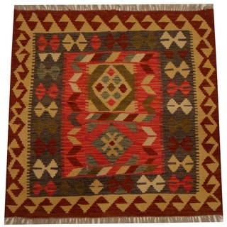 Herat Oriental Afghan Hand-woven Vegetable Dye Wool Kilim (2'11 x 2'11)