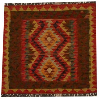 Herat Oriental Afghan Hand-woven Vegetable Dye Wool Kilim (2'7 x 2'9)