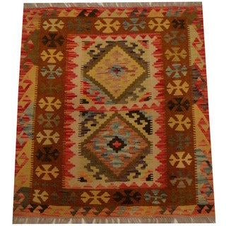 Herat Oriental Afghan Hand-woven Vegetable Dye Wool Kilim (2'10 x 3'2)