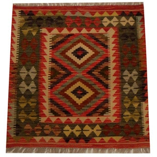 Herat Oriental Afghan Hand-woven Vegetable Dye Wool Kilim (2'8 x 2'9)