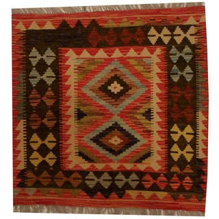 Herat Oriental Afghan Hand-woven Vegetable Dye Wool Kilim (2'8 x 2'8)