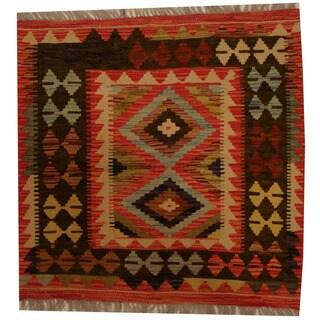 Herat Oriental Afghan Hand-woven Vegetable Dye Wool Kilim (2'8 x 2'8)