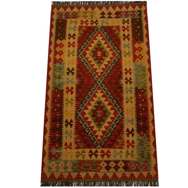 Herat Oriental Afghan Hand-woven Vegetable Dye Wool Kilim (3' x 5'2)