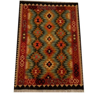 Herat Oriental Afghan Hand-woven Vegetable Dye Wool Kilim (3'4 x 4'10)