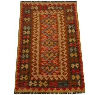 Herat Oriental Afghan Hand-woven Vegetable Dye Wool Kilim (3'3 x 4'10)