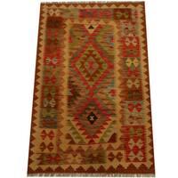 Herat Oriental Afghan Hand-woven Vegetable Dye Wool Kilim - 3'4 x 5'