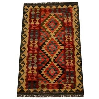 Herat Oriental Afghan Hand-woven Vegetable Dye Wool Kilim (2'8 x 4'3)