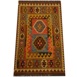 Herat Oriental Afghan Hand-woven Vegetable Dye Wool Kilim (2'7 x 4'3)