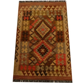 Herat Oriental Afghan Hand-woven Vegetable Dye Wool Kilim (2'8 x 4'1)