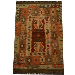 Herat Oriental Afghan Hand-woven Vegetable Dye Wool Kilim (2'6 x 3'8)