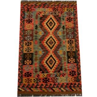 Herat Oriental Afghan Hand-woven Vegetable Dye Wool Kilim (2'8 x 5'4)