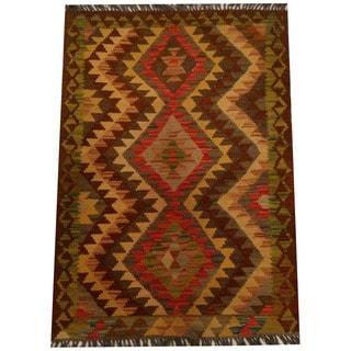 Herat Oriental Afghan Hand-woven Vegetable Dye Wool Kilim (2'8 x 3'11)