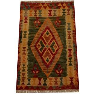 Herat Oriental Afghan Hand-woven Vegetable Dye Wool Kilim (2'5 x 3'8)