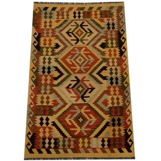 Herat Oriental Afghan Hand-woven Vegetable Dye Wool Kilim (2'8 x 4'3)