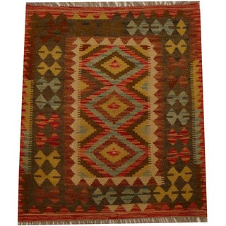 Herat Oriental Afghan Hand-woven Vegetable Dye Wool Kilim (2'7 x 3')