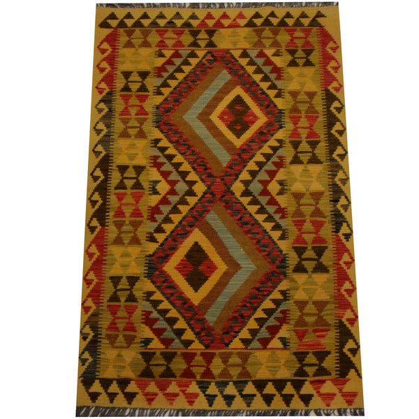 Herat Oriental Afghan Hand-woven Vegetable Dye Wool Kilim - 3'2 x 4'11