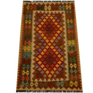 Herat Oriental Afghan Hand-woven Vegetable Dye Wool Kilim (3'4 x 5'2)