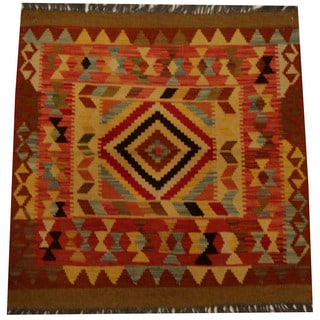 Herat Oriental Afghan Hand-woven Vegetable Dye Wool Kilim (3'2 x 3'2)