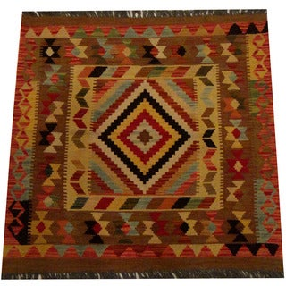 Herat Oriental Afghan Hand-woven Vegetable Dye Wool Kilim (3'2 x 3'3)